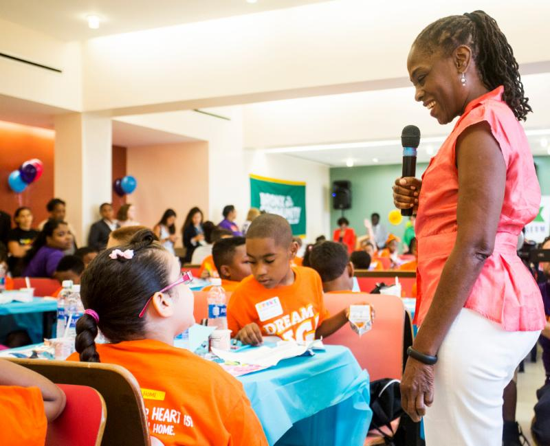 First Lady Chirlane McCray talks with students about the importance of college