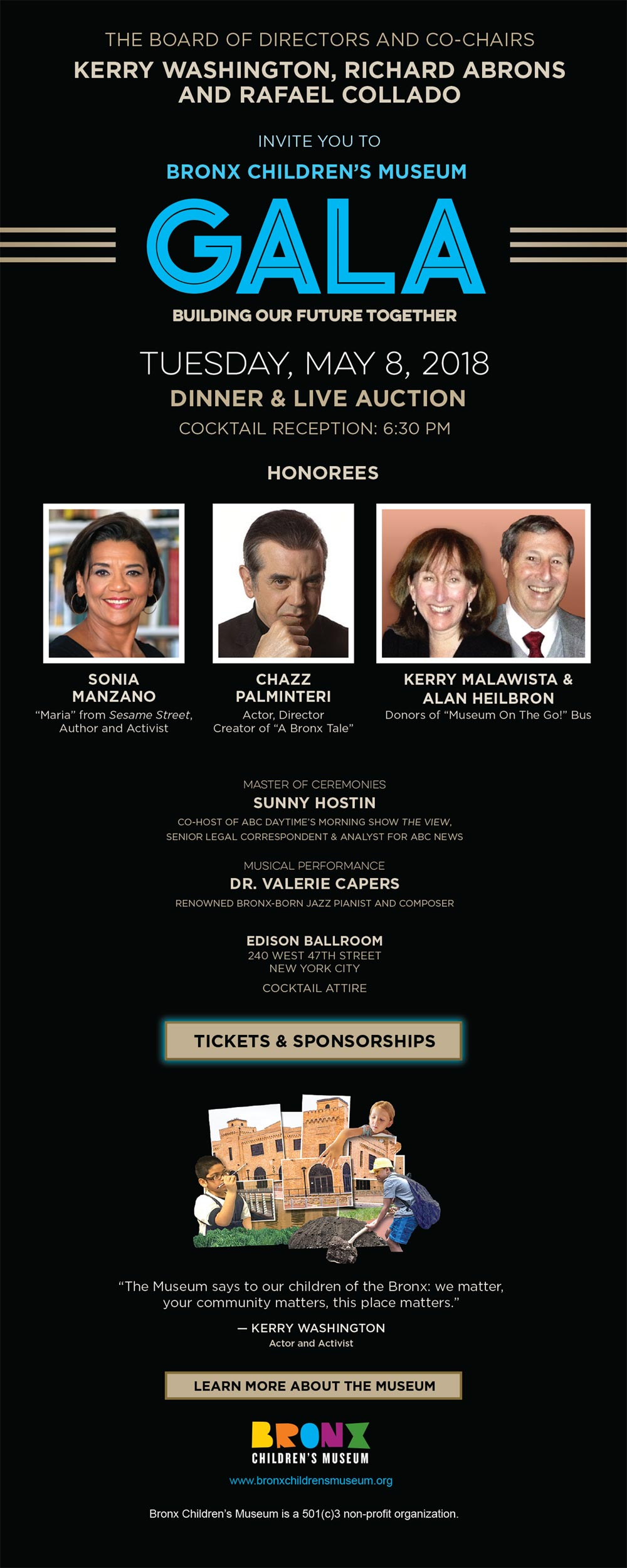 BxCM Gala18 Invite - Manzano honored by the Bronx Children's Museum