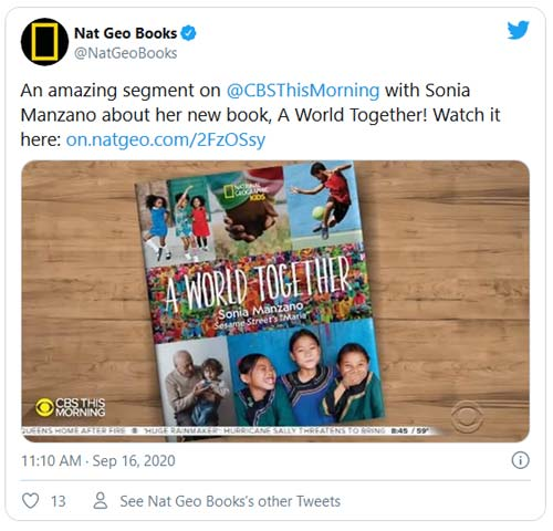 NatGeo tweet showing book - SheKnows Interview - Long After 'Sesame Street,' Sonia Manzano Is Still Teaching Children About Racial Equity