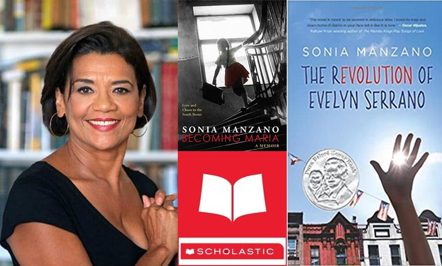 Collage with Sonia and two of her book covers