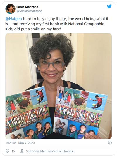 Twitter photo with Sonia holding her book